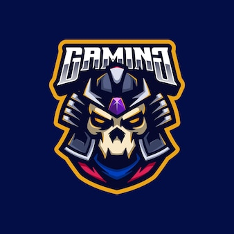 Maskotka logo samuraja czaszki