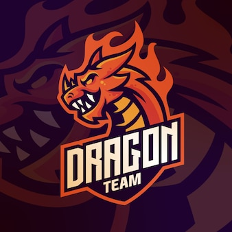 Maskotka logo smoka do gier esport zespołu wektor szablon