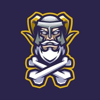 Maskotka Logo Wikingów Premium Wektorów