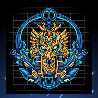 Maskotka mecha głowy horusa. logo esport