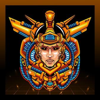 Maskotka mecha-robota głowy arjuna. projektowanie logo esport