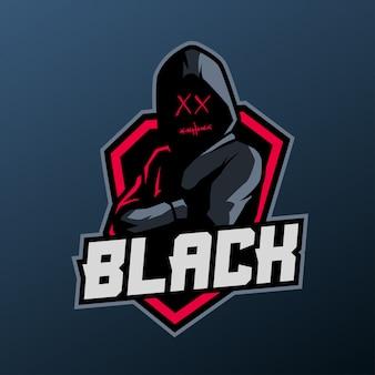 Maskotka mężczyzna z kapturem dla sportu i e-sportu logo na białym tle na ciemnym tle
