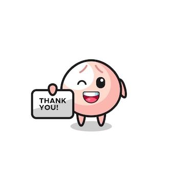 """Maskotka mięsnego bułeczki trzymająca baner z napisem """"dziękuję"""", ładny styl na koszulkę, naklejkę, element logo"""