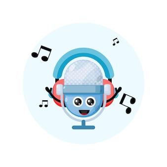 Maskotka mikrofon zestawu słuchawkowego muzyki