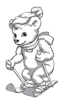 Maskotka miś na nartach czarno-biały rysunek haftu nadruk na tkaninie