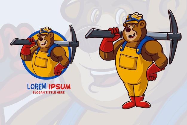 Maskotka niedźwiedź górnik ilustracja