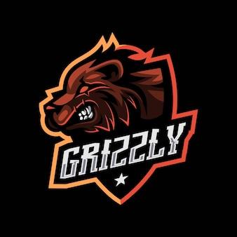 Maskotka niedźwiedź grizzly dla logo e-sportu i sportu na białym tle
