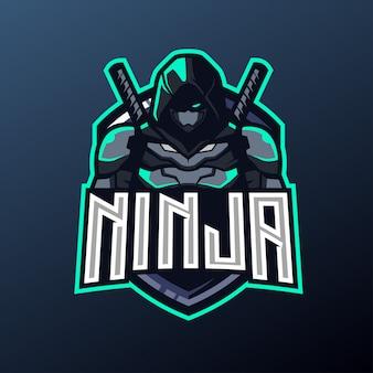 Maskotka ninja do sportu i logo e-sportu
