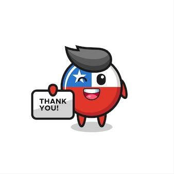 """Maskotka odznaki flagi chile trzymająca baner z napisem """"dziękuję"""", ładny styl na koszulkę, naklejkę, element logo"""