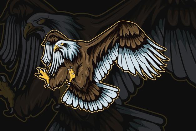 Maskotka orła do sportu i logo e-sportu na białym tle na ciemnym tle