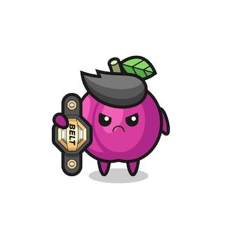 Maskotka owoc śliwki jako zawodnik mma z pasem mistrza, ładny styl na koszulkę, naklejkę, element logo