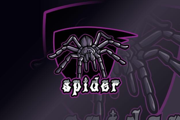 Maskotka pająk do sportu i logo e-sportu na białym tle
