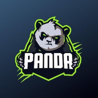 Maskotka panda dla sportu i logo e-sportu