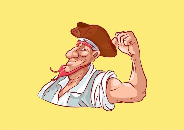 Maskotka piracka postać z kreskówki pokazuje siłę pompowane biceps