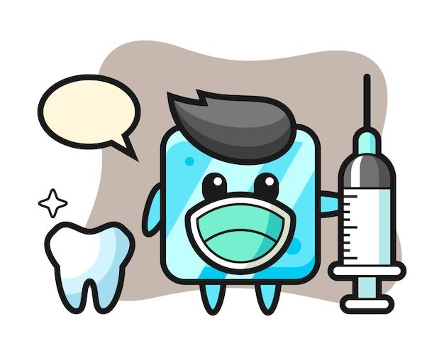 Maskotka postać kostki lodu jako dentysta