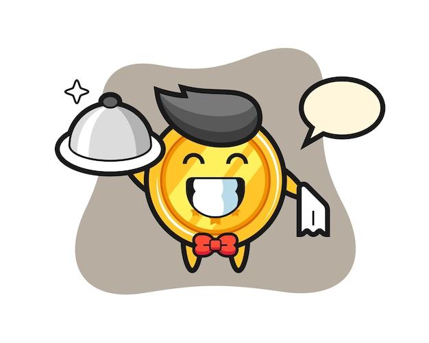 Maskotka postać medalu jako kelnerów