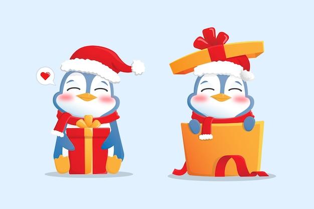 Maskotka postać szczęśliwy pingwin z kapeluszem, szalikiem i prezentem