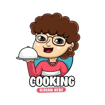 Maskotka postać szefa kuchni kręcone włosy, gotowanie i logo żywności