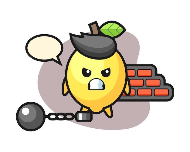 Maskotka postaci cytryny jako więzień