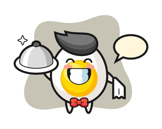 Maskotka postaci gotowanego jajka jako kelnerów