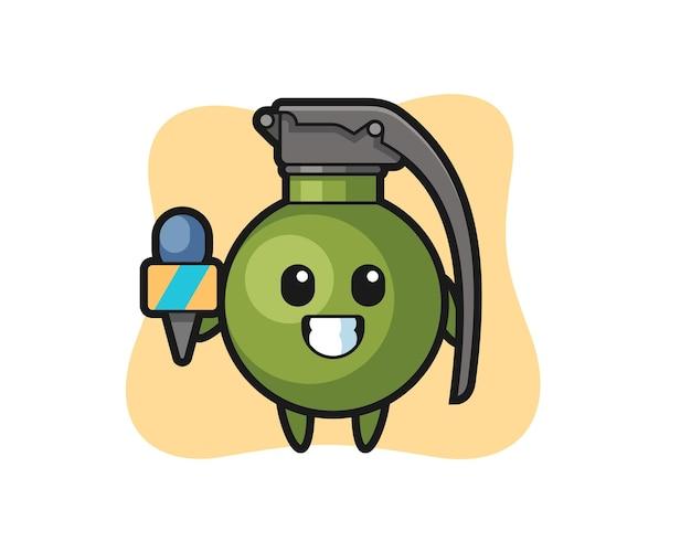 Maskotka postaci granatu jako reporter wiadomości, ładny styl na koszulkę, naklejkę, element logo