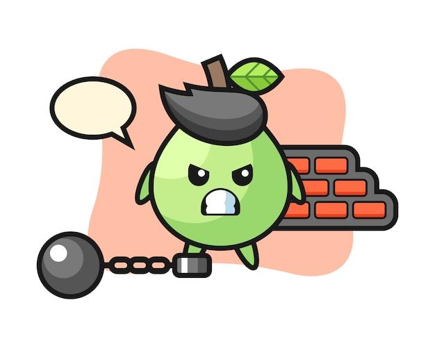 Maskotka postaci z guawy jako więźnia, ładny styl na koszulkę, naklejkę, element logo