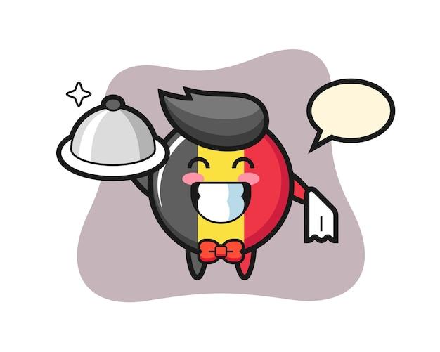 Maskotka postaci z odznaką flagi belgii jako kelnerów