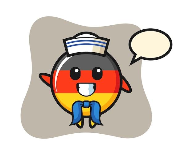 Maskotka postaci z odznaką flagi niemieckiej jako marynarz
