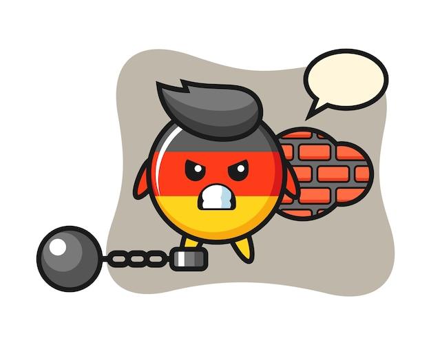 Maskotka postaci z odznaką flagi niemieckiej jako więzień