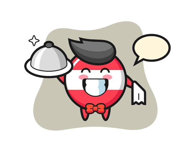 Maskotka postaci z odznaką z flagą austrii jako kelnerów