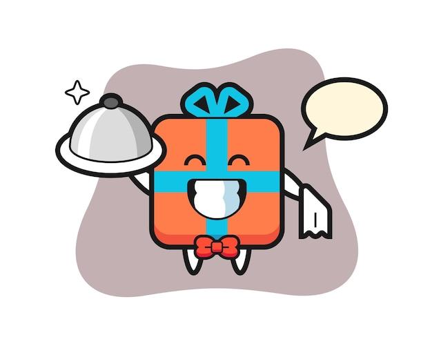 Maskotka postaci z pudełka jako kelnerów