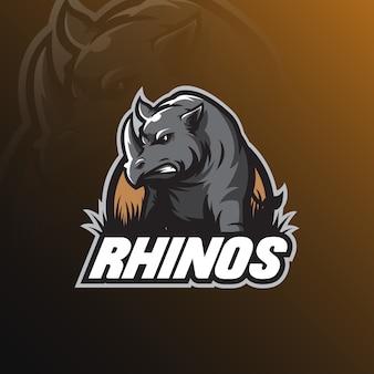Maskotka projektowanie logo nosorożca z nowoczesnym stylu ilustracja koncepcja odznaka, godło