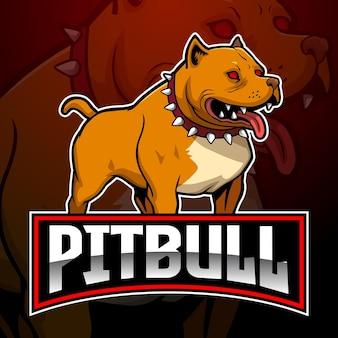 Maskotka psa pitbull z logo drużyny