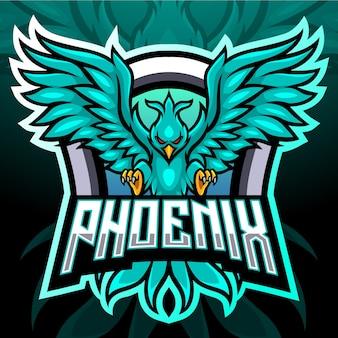 Maskotka ptak feniks. logo esport
