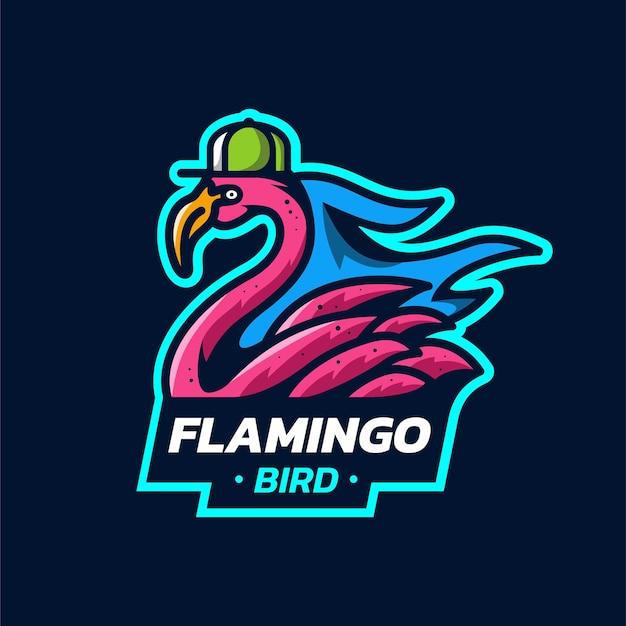 Maskotka ptak flamingo szablon logo flamingo