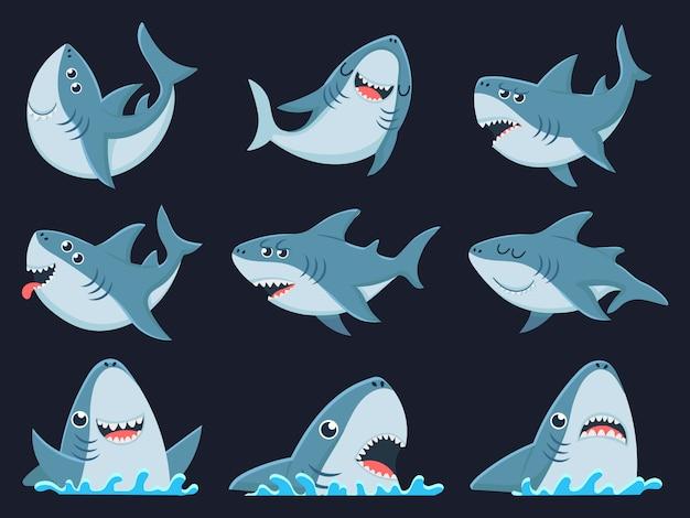 Maskotka rekin oceaniczny. zwierzęta straszne rekiny, uśmiechnięte szczęki i pływanie rekin ilustracja kreskówka zestaw