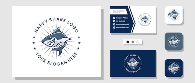 Maskotka rekin ryba morski ocean ilustracja kreskówka logo projekt z układem szablonu wizytówka