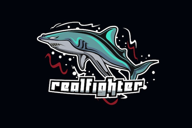 Maskotka rekina do sportu i logo e-sportu na białym tle na ciemnym tle