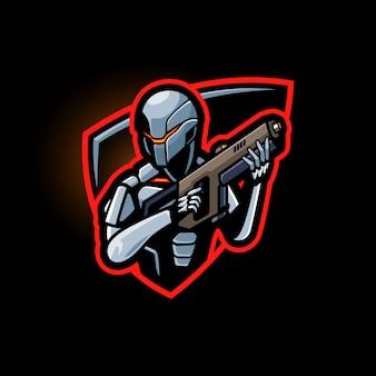 Maskotka robota logo e sport z szablonem pistoletu