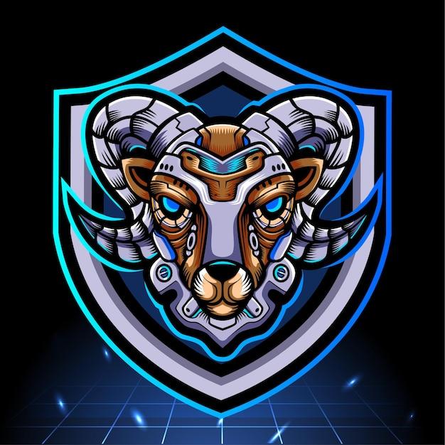 Maskotka robota mecha głowa kozy. projektowanie logo esport