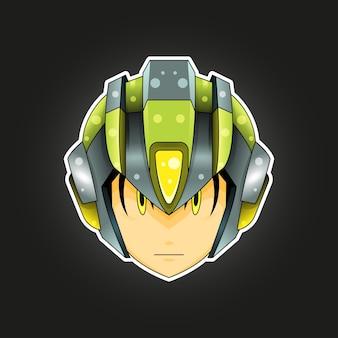 Maskotka robota na logo, postać, naklejki, t-shirt