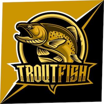 Maskotka ryby pstrąga dla logo sportu i e-sportu