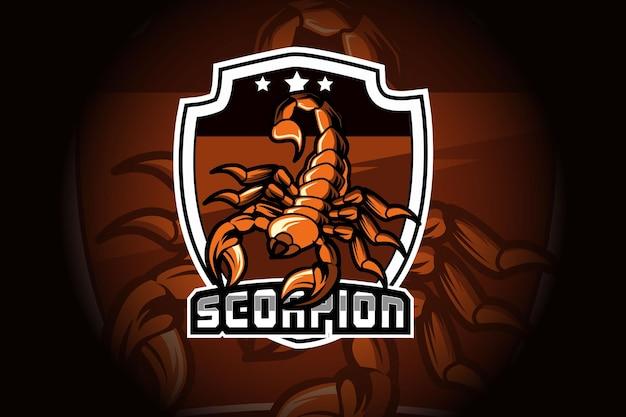 Maskotka skorpiona dla sportu i logo e-sport na białym tle na ciemnym tle