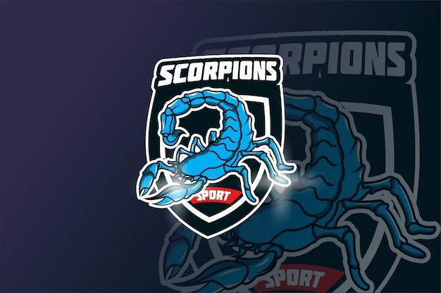Maskotka skorpiona do sportu i logo e-sportu na białym tle na ciemnym tle