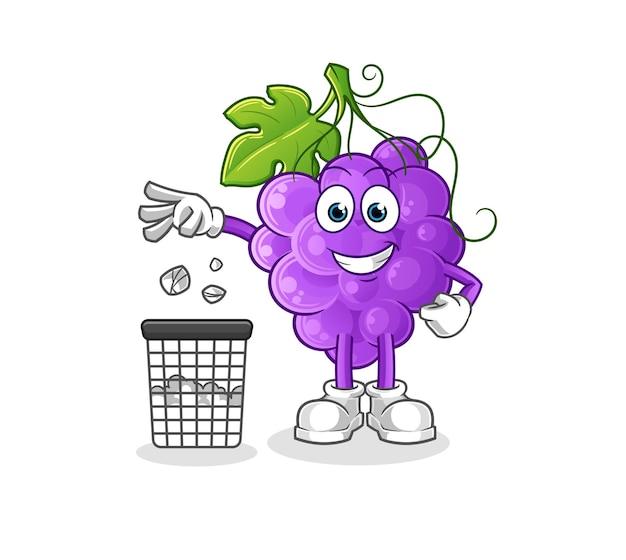 Maskotka śmieci z winogron. kreskówka