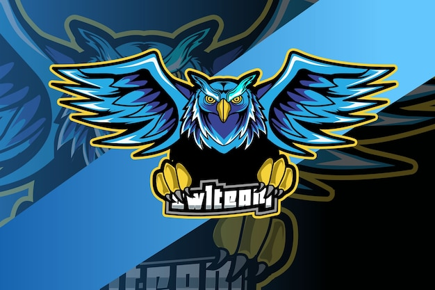 Maskotka sowa do sportu i logo e-sportu na ciemnym tle