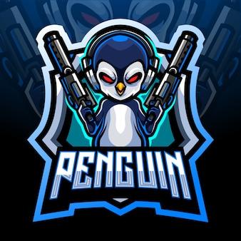 Maskotka strzelców pingwina. projektowanie logo esport