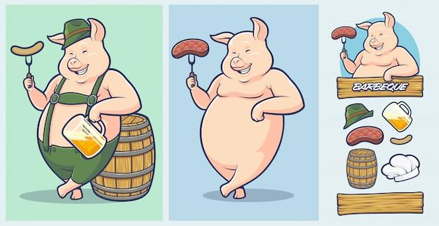 Maskotka świni oktoberfest z dodatkowymi elementami do grilla i steków.