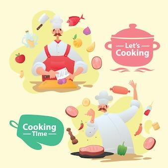 Maskotka szefa kuchni wąsy ze składnikami ilustracji
