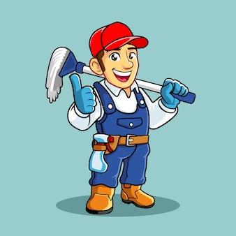 Maskotka usługi sprzątania